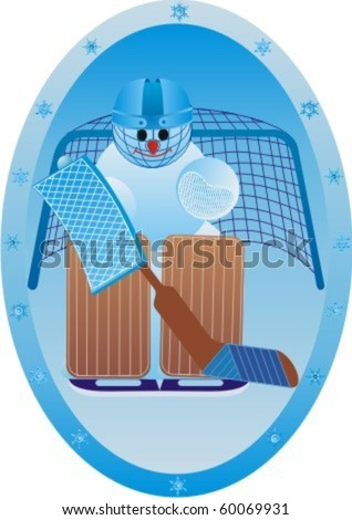 Winter sport. Snowman athlete.Goalkeeper. - stock vector