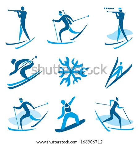 Winter sport symbols. Icons and symbols of winter sport activities. Vector illustration.