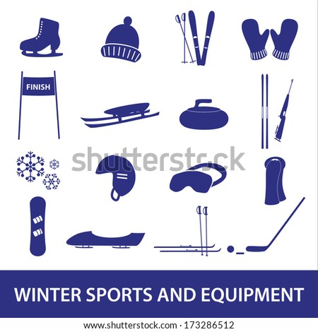 winter sports and equipment icons eps10 - stock vector