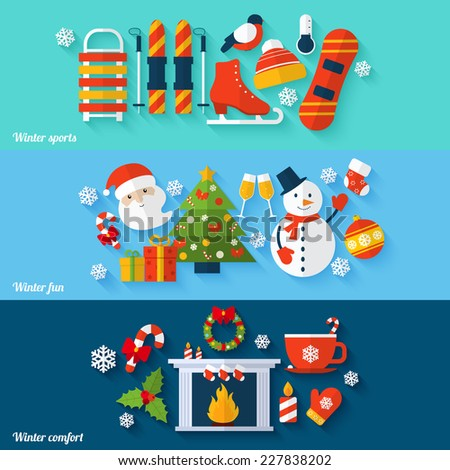 Winter sports fun comfort flat banners set isolated vector illustration - stock vector