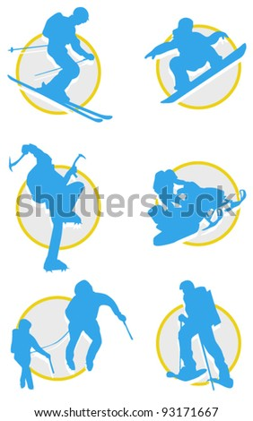 winter sports icon set - stock vector