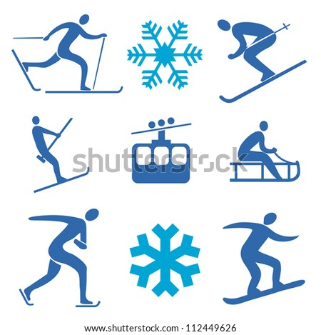Winter sports icons - stock vector