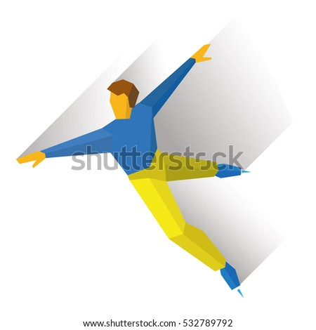 Winter sports - men's single skating. Cartoon figure skater training. Athlete in blue and yellow skate on ice, isolated on white background. Flat style vector clip art.