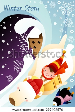 Winter Story - lovely young boy play game with cute pets on the blue ice slide on a background of dark purple night sky and beautiful snowy world with floral patterns : vector illustration  - stock vector