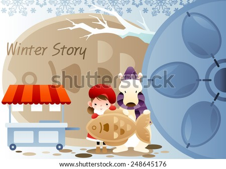 Winter Story with cute little friends on a background with big fish cake : vector illustration - stock vector