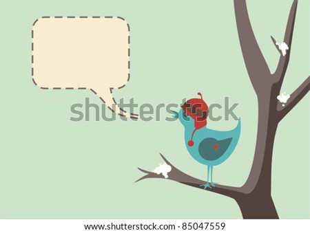 Winter style vector of a cute bird wearing a hat, sitting in tree with snow, complete with speech bubble - stock vector