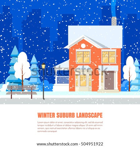 Winter suburb landscape powdered house trees stock photo photo winter suburb landscape with powdered house and trees on snow covered ground against city background reheart Image collections