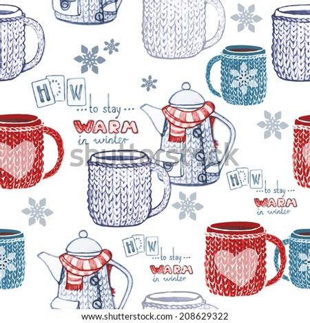 Winter teatime seamless hand drawn pattern. Vector illustration. - stock vector