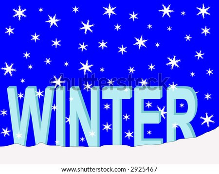 winter text with falling snow flakes illustration