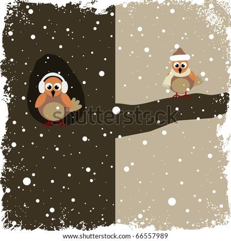 Winter theme with birds - stock vector