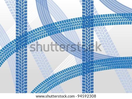 Winter tire tracks pattern illustration background vector - stock vector