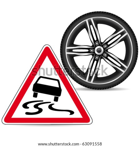 """winter tires and sign """"slippery road"""" - vector illustration - stock vector"""
