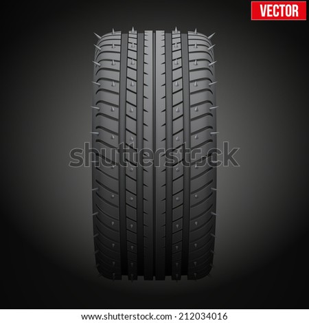 Winter tires with metal spikes. Realistic vector illustration isolated on dark background - stock vector