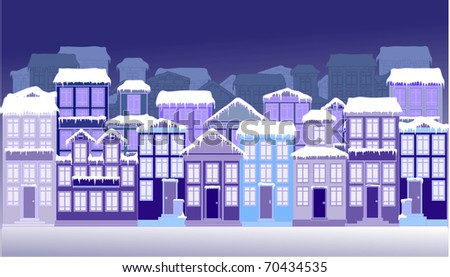 Winter Town - stock vector