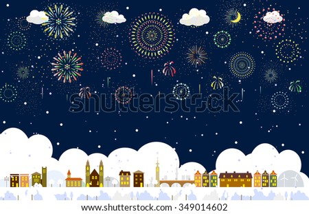 Winter town and fireworks - stock vector