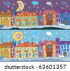 Winter town banner at day and night - stock vector