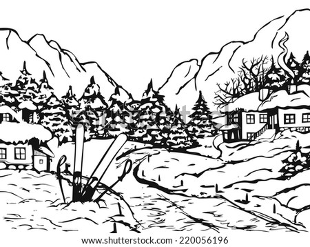 Winter town. Houses and fir trees covered with snow. On the background winter mountains. On the front skis and ski poles stick into the ground. - stock vector