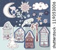 winter town theme, scrapbook set - stock vector