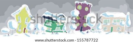 Winter town. Two houses. Girl looking at a snowman. A woman carries a child on a sled. Boy clinging snow caterpillar. Boy digging snow - stock vector
