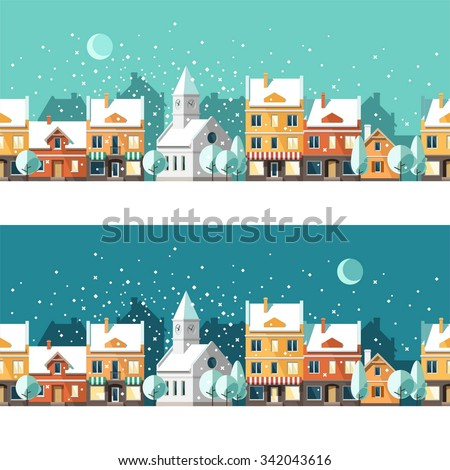 Winter town. Urban winter landscape. Cityscape. Vector illustration, flat style. - stock vector