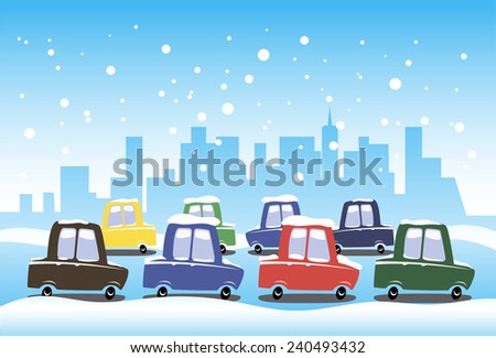 Winter traffic - stock vector