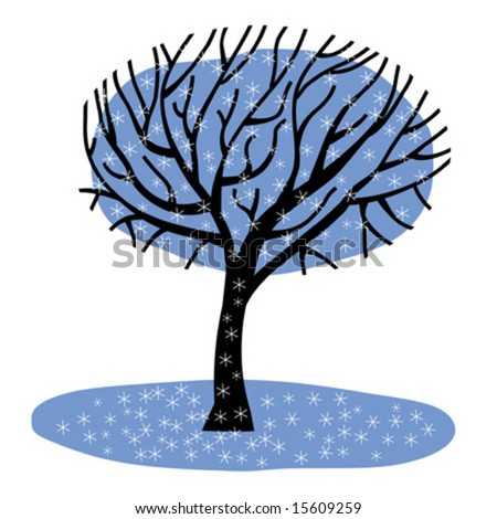Winter tree - stock vector