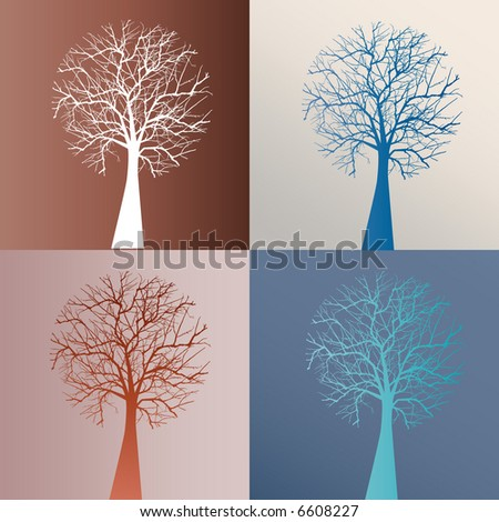 winter tree choices - stock vector