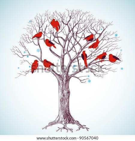 Winter tree with birds vector illustration - stock vector