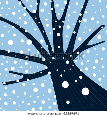 Winter tree with falling snow. Tree with winter weather atmosphere. Vector Illustration. - stock vector