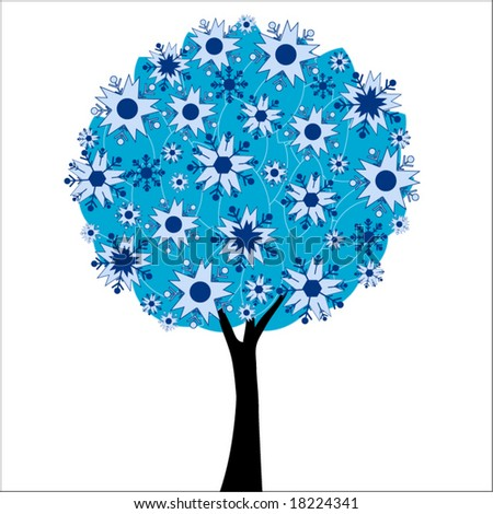winter tree with leaves and snowflakes - stock vector