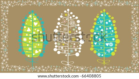 Winter Trees Background , Christmas vector card - stock vector