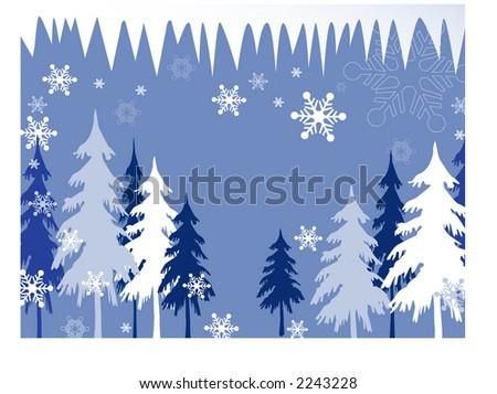 winter trees illustration series - stock vector