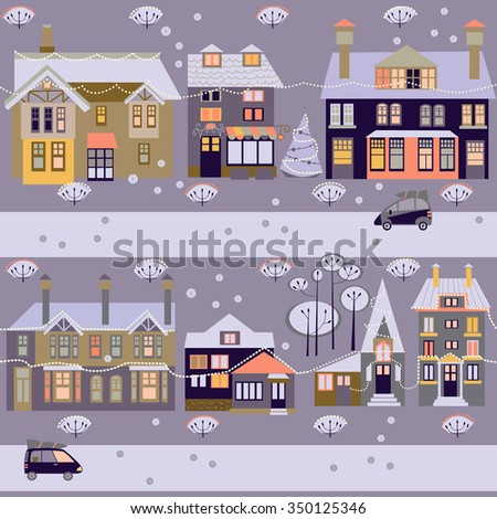 Winter vector background with houses - stock vector