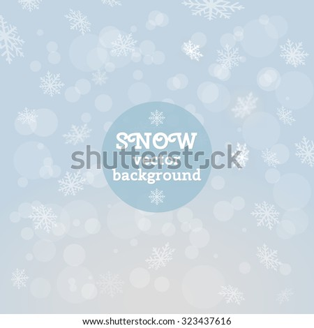 Winter vector background with snowflakes - stock vector