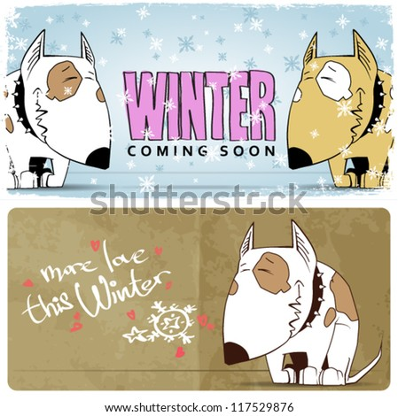 Winter vector card with funny cartoon dog and text. - stock vector
