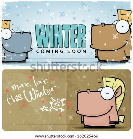 Winter vector card with funny horse and text. - stock vector