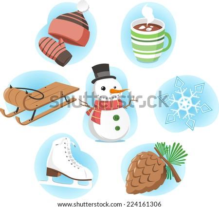 Winter vector cartoon icons - stock vector