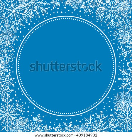 Winter vector frame with arabesques and snowflakes. Fine greeting blue and white card