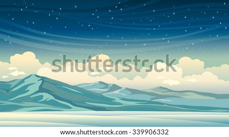 Winter vector illustration. Night landscape - blue mountains on a starry sky with clouds. - stock vector