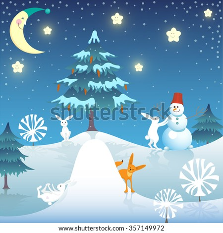 Winter vector illustration. Snowman, rabbits and Fox in the winter woods.