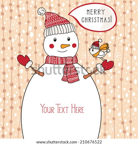 Winter vector illustration with snowman - stock vector