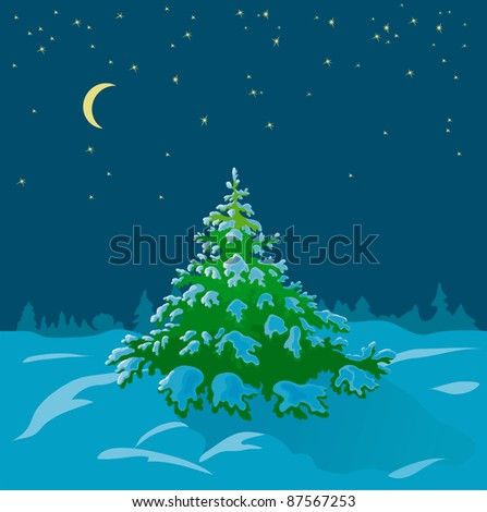 winter vector illustration with the Christmas tree
