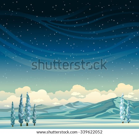 Winter vector landscape - Frozen trees and mountains on a blue starry sky with clouds. Nature night illustration.