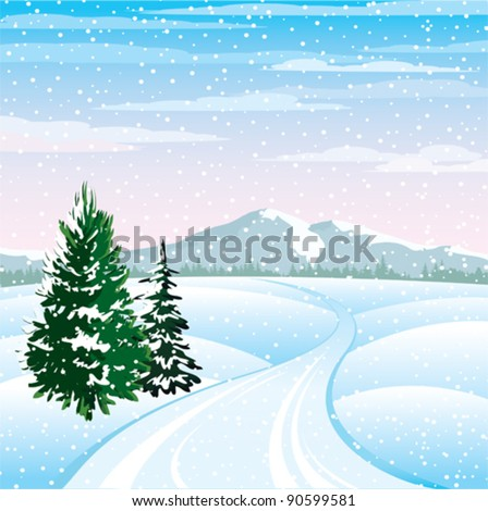 Winter vector landscape with trees and road on a cloudy sky