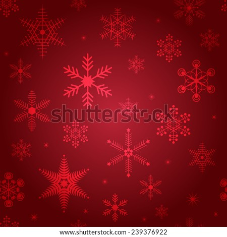 Winter vector seamless background in Red with snowflakes. Christmas & New Year vector decoration design for wallpaper, wrapping paper, doily, pattern fills. Geometric Backdrop. Snowflakes set. - stock vector