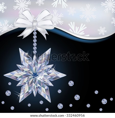 Winter wallpaper with diamond snowflake, vector illustration