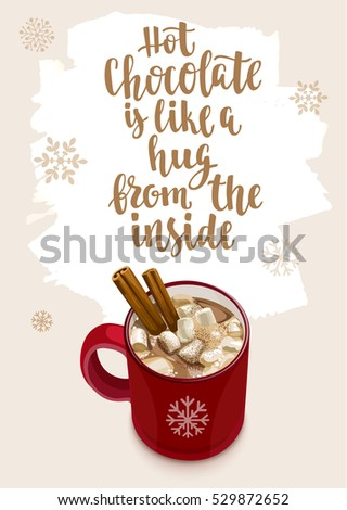 Winter Warming beverage quote. Modern calligraphy style handwritten lettering with cup and decorative elements. Vector illustration for cards, leaflets or banners on cozy light background.