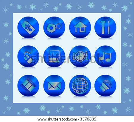 winter web icons - stock vector