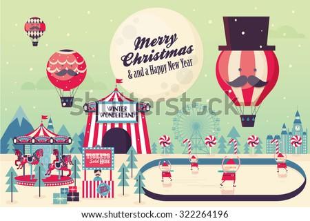 winter wonderland christmas vector/illustration - stock vector