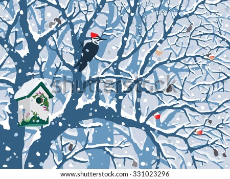 Winter Wonderland - First Snow. Hand drawn vector illustration of first snow covering cute painted birdhouse, trees, woodpecker, apples.  - stock vector